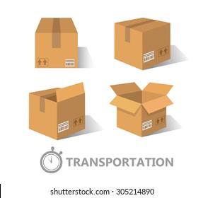 Flat boxes icons set. EPS10