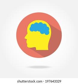 Flat brain icon.