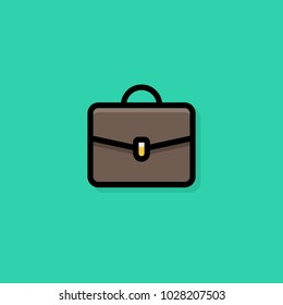 Flat Briefcase Outline Icon