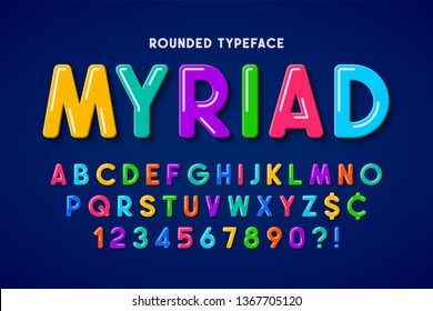 Flat bubble comical font design, colorful alphabet, typeface. Color Swatches control