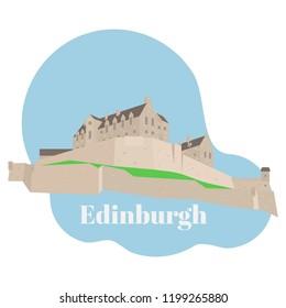 Flat building of Edinburgh Castle in Scotland, United Kingdom. Historic sight attraction sightseeing. Travel icon landmark. City architecture of Great Britain vector illustration