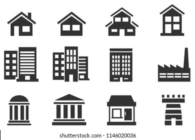 Flat Building and Home Black Icons