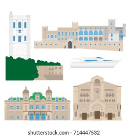 Flat building of Monaco country, travel icon landmarks in Monte Carlo. City architecture. World travel vacation sightseeing European collection vector