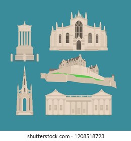 Flat building in Scotland, United Kingdom. Sightseeing and landmark. Architecture of Great Britain. St Giles Cathedral and Edinburgh Castle. Dugald Stewart, Scott Walter Monument vector illustration