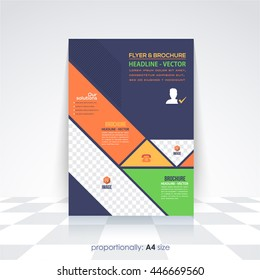 Flat Business A4 Flyer and Brochure. Catalog Cover, Corporate Leaflet and Background Design