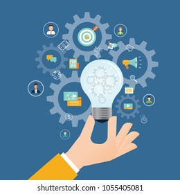 flat business creative process and creative thinking concept with business hand hold light bulb
