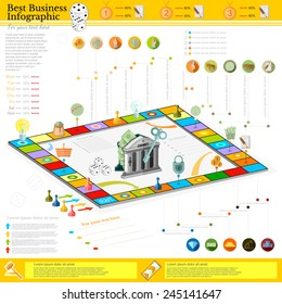 flat business infographic background with financial board game game cells, dice, game pieces, money, pointer, icon etc
