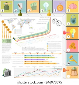 flat business infographic background top view with financial board game game cells dice game pieces money