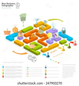 flat business maze infographic background with financial board game game cells dice game pieces money
