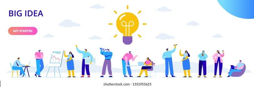 Flat Business People mit großer Light Bulb Idee. Menschen, die an einem neuen Projekt arbeiten. Flache Vektorgrafik. Kreativität, Brainstorming, Innovationskonzept.