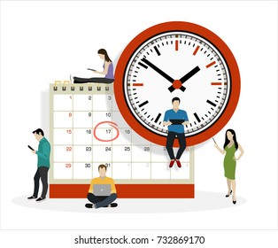 Flat business people planning operation, circle mark on calendar. Business operations planning and scheduling concept.