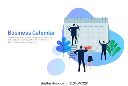 Flat Business People Planning and Scheduling Operation Calendar. Business Operations Planning and Scheduling Concept. vector