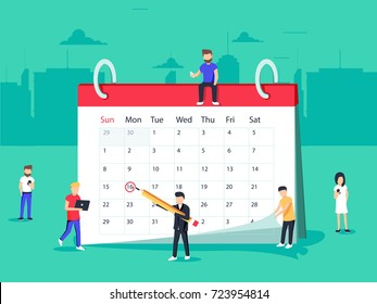 Flat Business People Planning and Scheduling Operation by Drawing Circle Mark on Desk Calendar. Business Operations Planning and Scheduling Concept.