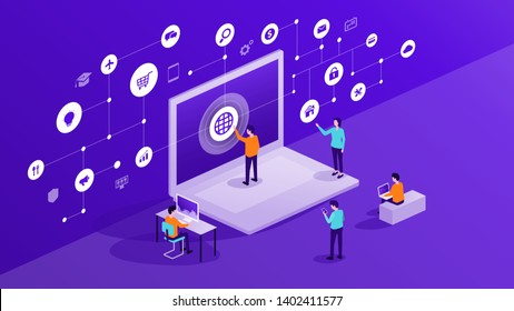 flat business people and team working and use internet online network connection concept