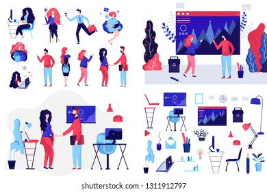 Flat Business Peoples and Elements.Mans and Womans concept. Business illustration concept.Business people at work. Office worker  behind the a work. Vector illustration of a flat design.
