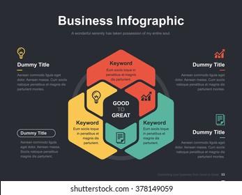 Flat business presentation vector slide template with hexagon venn diagram