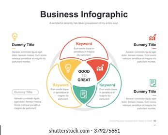 Flat business presentation vector slide template with venn diagram
