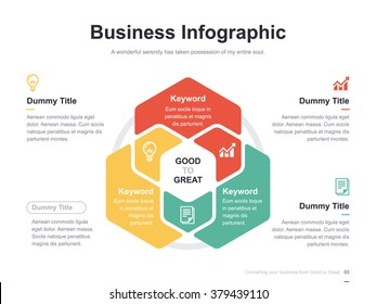 Flat business presentation vector slide template with hexagon venn diagram