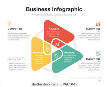 Flat business presentation vector slide template with triangle venn diagram