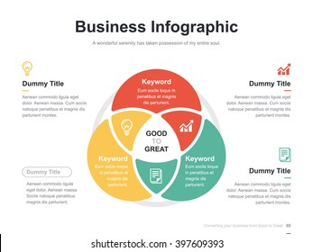 Flat business presentation vector slide template with circle venn diagram