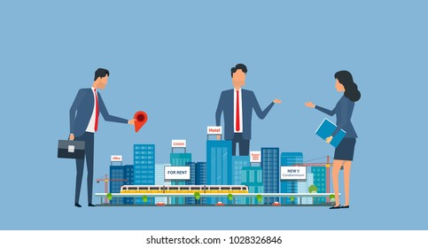flat business real estate investment with group investor meeting concept
