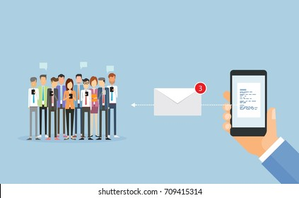 flat business sending message on mobile and email marketing and concept