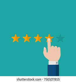 Flat Businessman Hand Giving Four Star Rating