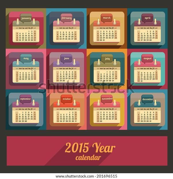 Flat calendar 2015 year design, English, Sunday start