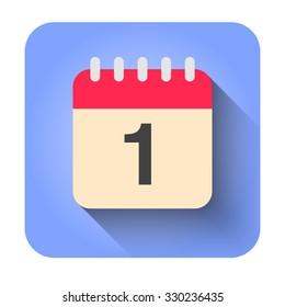 Flat calendar icon vector illustration. Simple calendar with date 1.