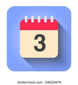 Flat calendar icon vector illustration. Simple calendar with date 3.