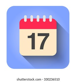Flat calendar icon vector illustration. Simple calendar with date 17.