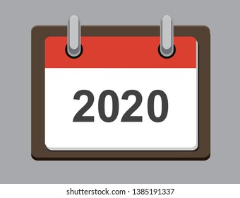 Flat calendar year 2020 icon. Happy New year. Happy New Year 2020. Tear-off calendar icon in flat style on gray background. Vector illustration.