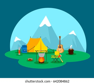 Flat camping concept with tent guitar pot over bonfire rugby ball backpack matches axe chair vector illustration