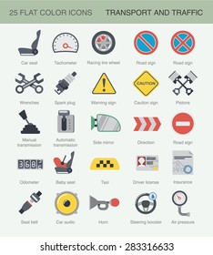 Flat car color icons for web design, infographics, or application