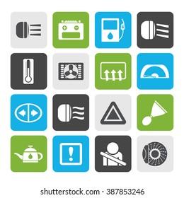 Flat Car Dashboard - realistic vector icons set