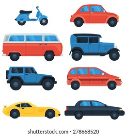 Flat car icon set