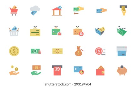 Flat Card Payment Vector Icons 3