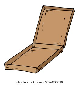 Flat cardboard box. Empty box of pizza. Open box. Vector illustration.