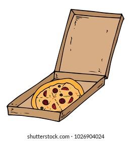 Flat cardboard box. Open box with delicious pizza. Round pizza. Vector illustration.