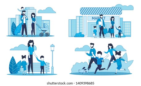 Flat Cards Set with Family Spending Time Together. Vector Cartoon Parents and Children Shopping at Market, Walking in Urban Street, Jogging, Single Mother with Kids in City Park Illustration