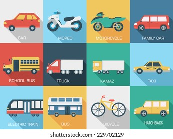 Flat cars concept set icon backgrounds illustration design. Tamplate for web and mobile