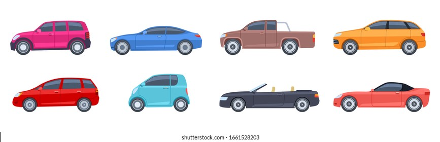 Flat cars. View side automobiles model. Contemporary suv and hatchback, pickup and sedan. Isolated colorful autos vector icons