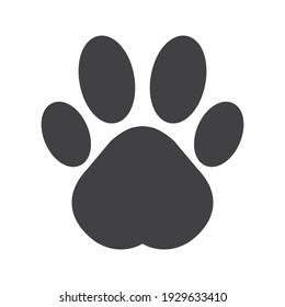 Flat cartoon animal footprint. Cat or dog paw web icon color editable