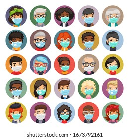 Flat cartoon avatars collection of people wearing medical face masks to prevent viruses, disease, flu, gas. Isolated on white background. Clipping paths included.