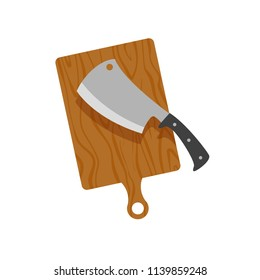 Flat cartoon butcher's sharp knife for chopping meat with cutting board, vector illustration isolated on white background