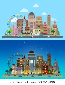 Flat cartoon carousel historic skyscrapers city set day and night. Road highway avenue transport street traffic before line buildings skyscrapers business center offices. Urban life collection