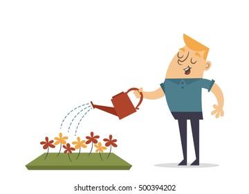 Flat Cartoon Character. Man Watering Flowers. Vector Illustration