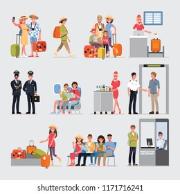 Flat Cartoon character with travel set, Illustration Infographics Airport.vector cartoon set. Travel concept.