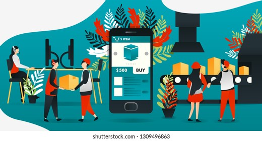 flat cartoon character. vector illustration for technology, industrial revolution 4.0, industry, e-commerce. mobile app makes easy and benefit for manufacturers, shipping to get order from customer.