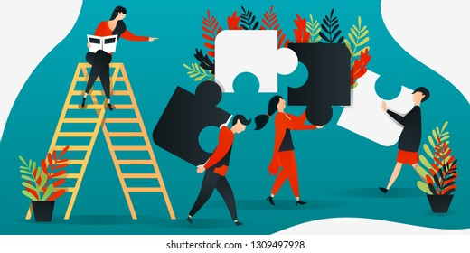 flat cartoon character. vector illustration for construction, leadership, teamwork, business. people putting together puzzle, people putting together puzzles. describe cooperation and build together